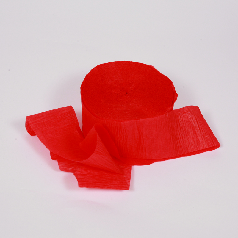 Red crepe paper streamer