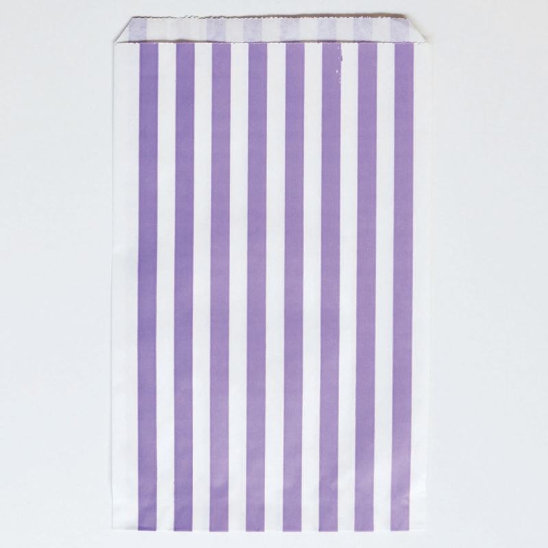 10 purple striped paper party bags