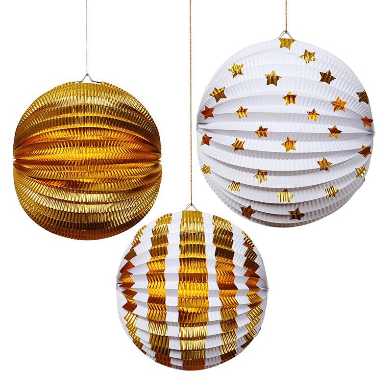 Set of 3 Gold Foil Lanterns