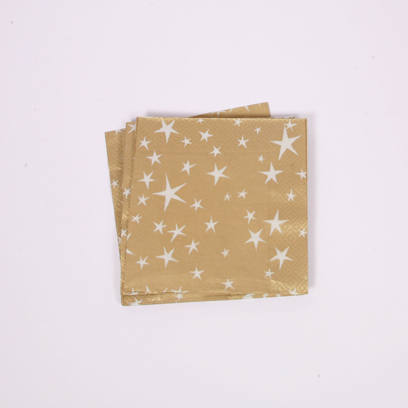 20 gold white stars napkins