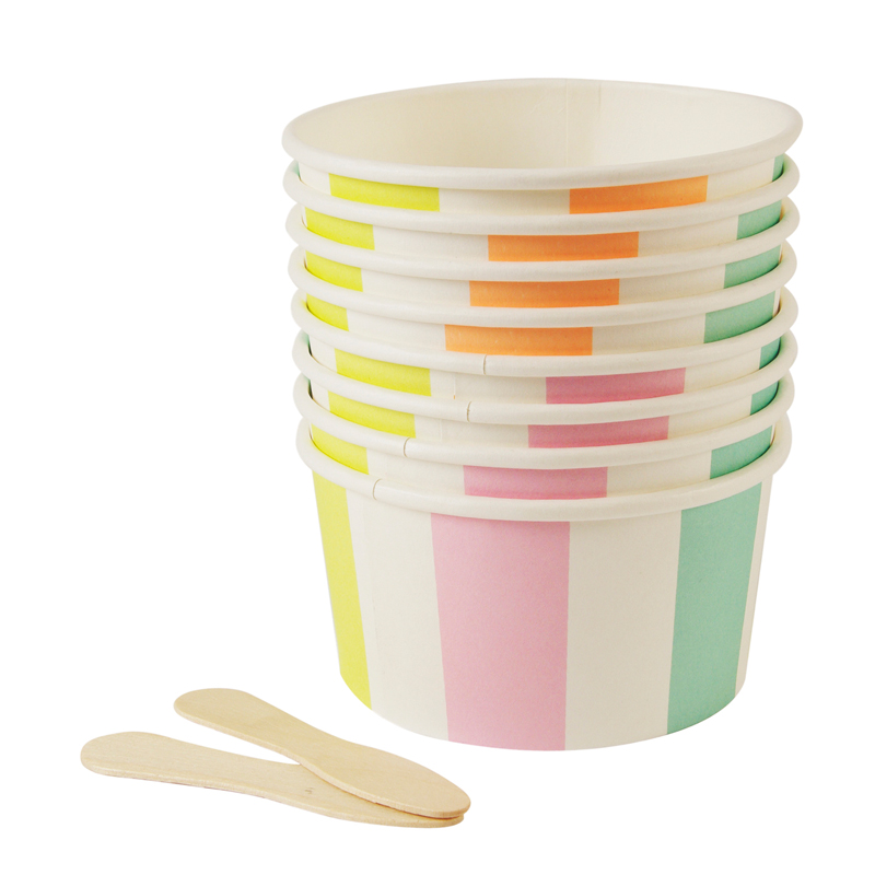 8 pastel Stripes Ice Cream Cups