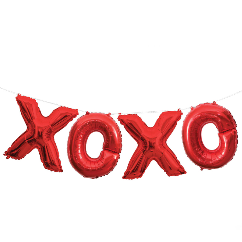 Foil Red XOXO Letter Balloon Banner Kit