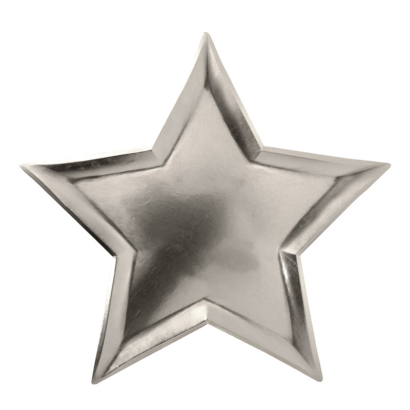 8 Star shaped Silver Foil Plates