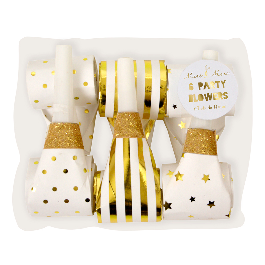 White and gold party blowers