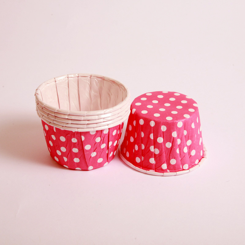 12 pink polka dot candy cups