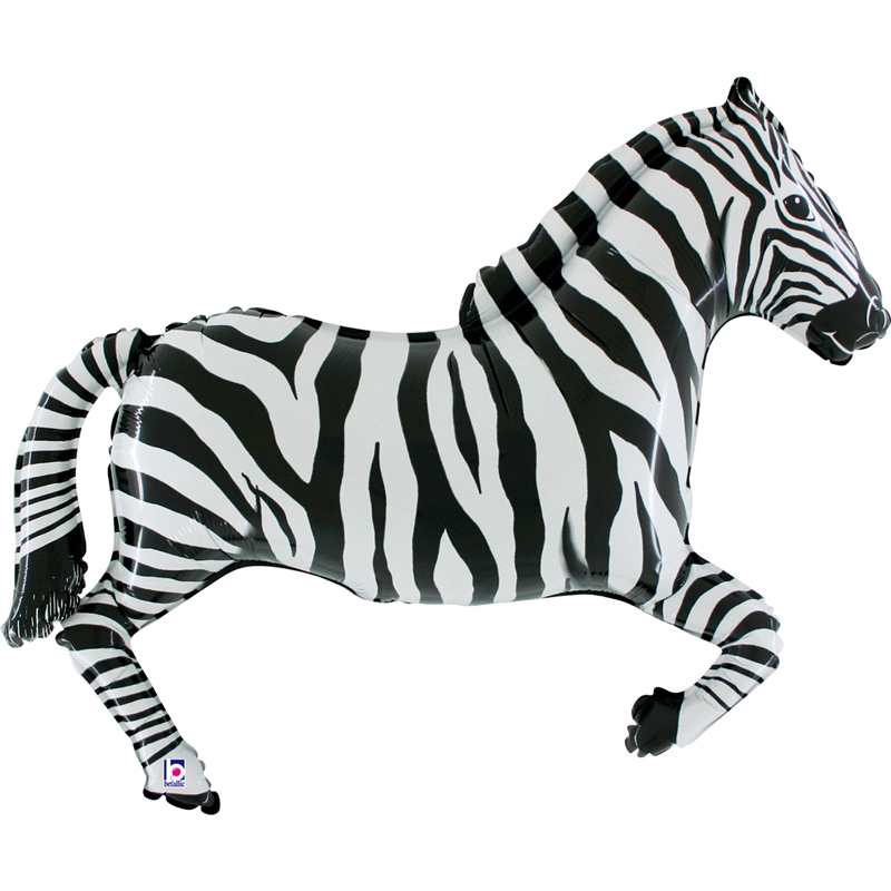 Zebra shaped foil balloon