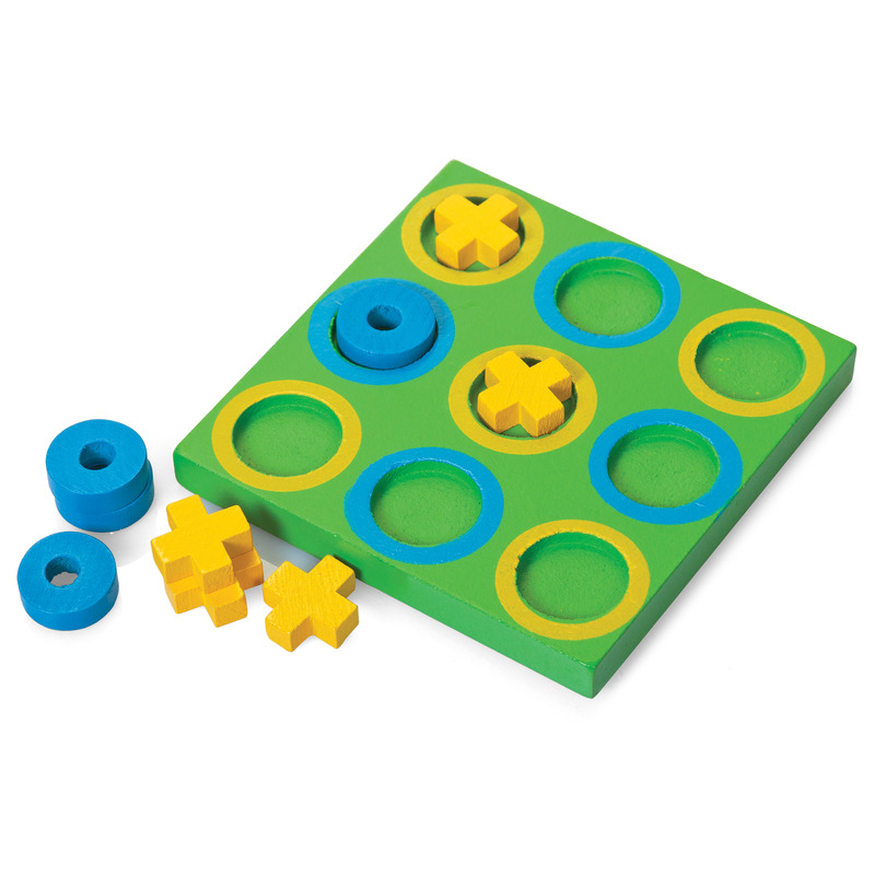 Noughts and crosses wooden game