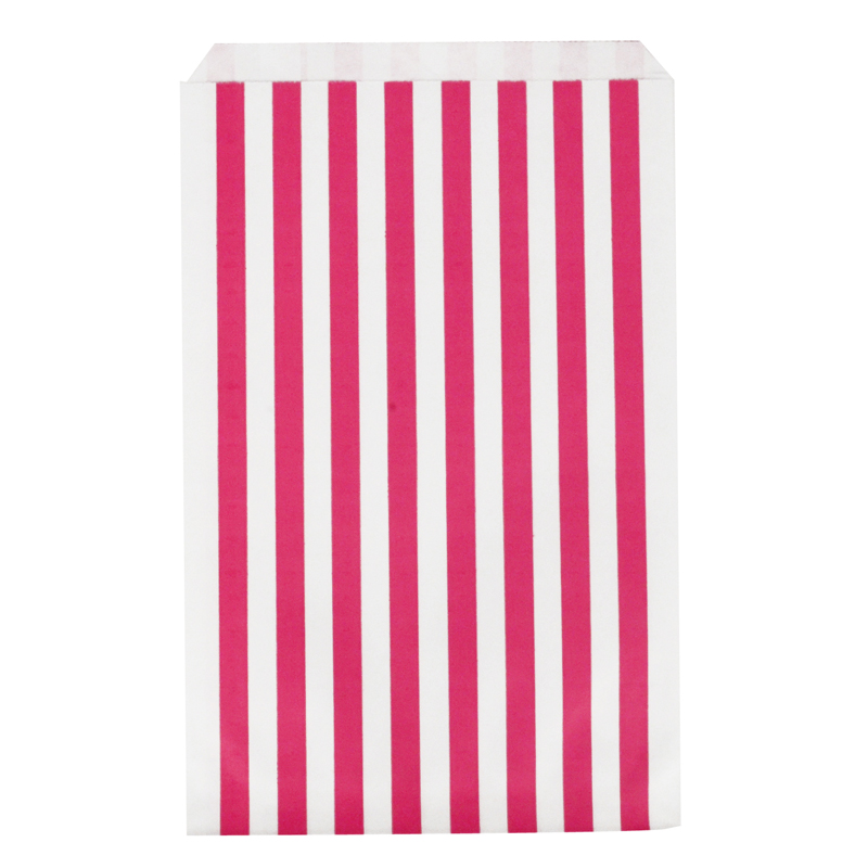10 pink paper striped party bags