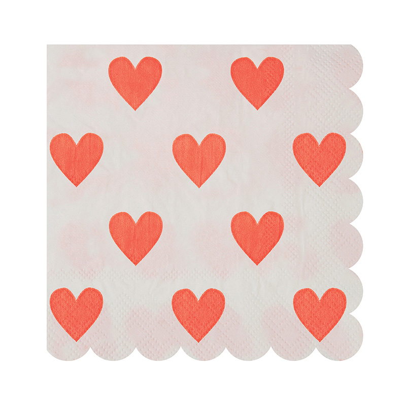 20 Pink Hearts Pattern Small Napkin