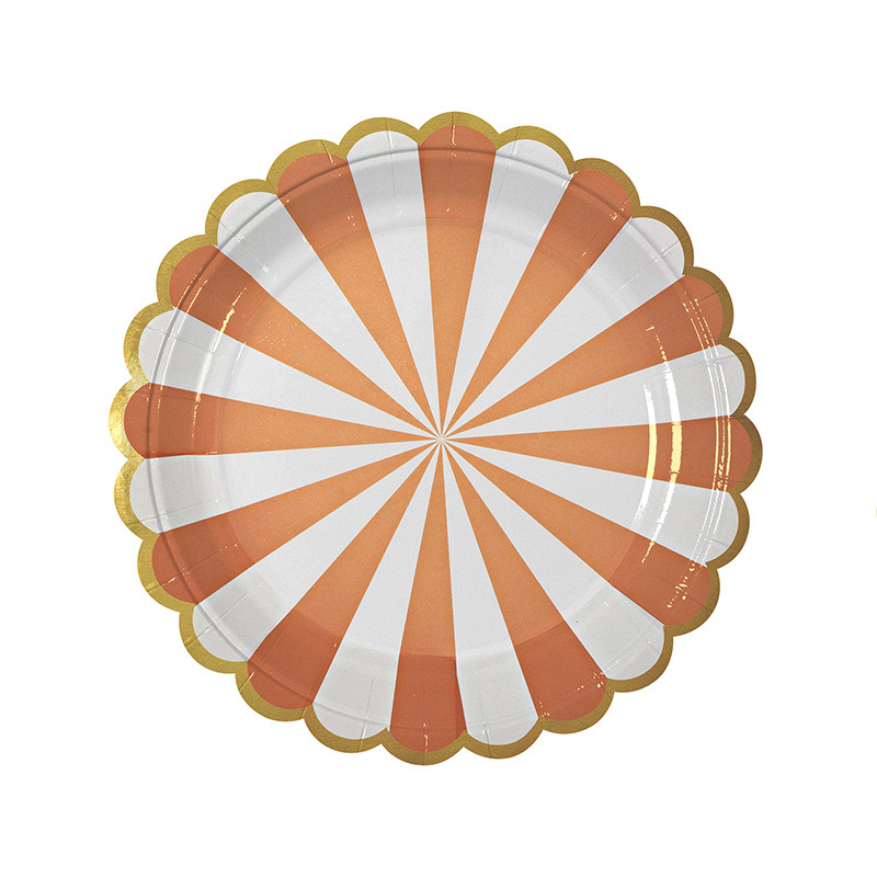 8 orange Striped Plate