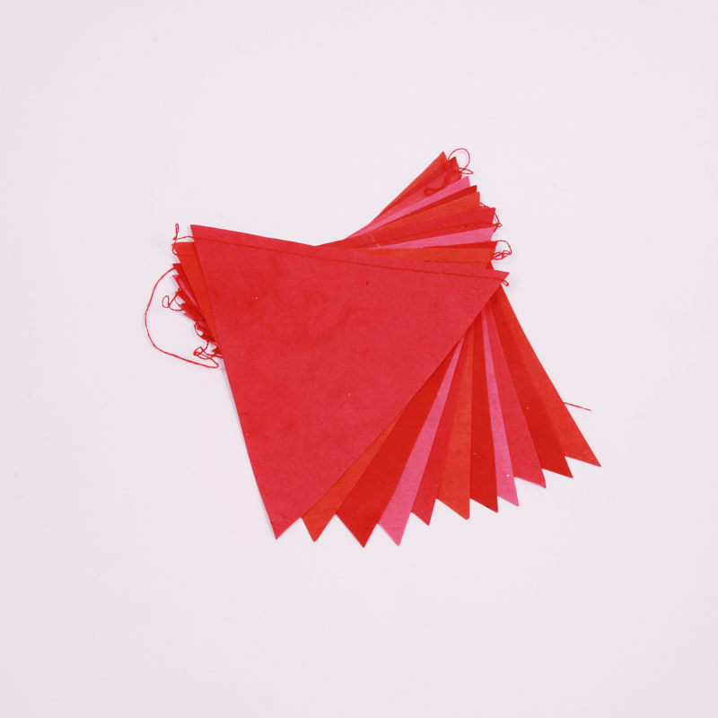 Handmade red paper bunting