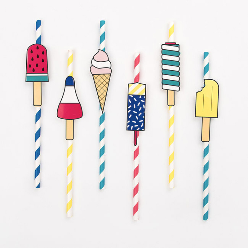 12 paper straws- ice cream