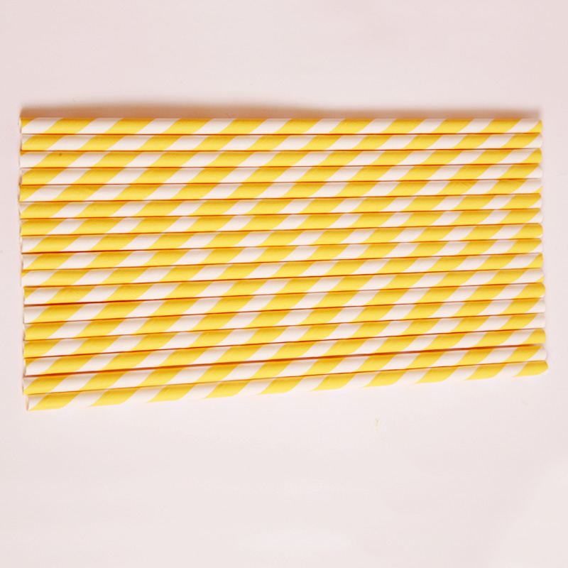 25 yellow stripe paper straws