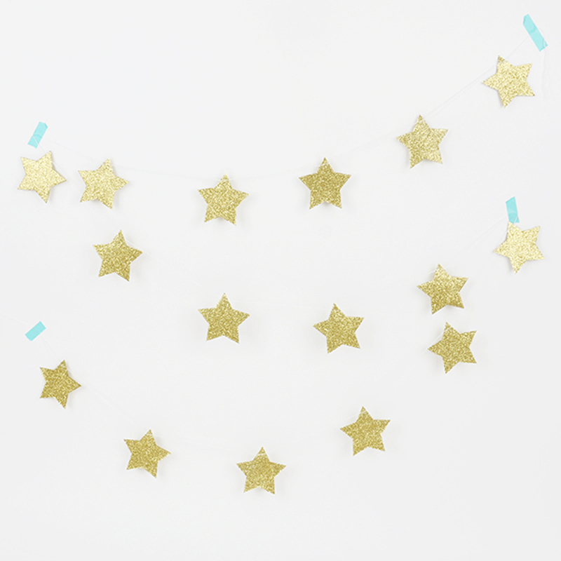 glitter gold star garland