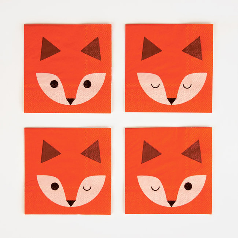 20 paper napkins - mini fox