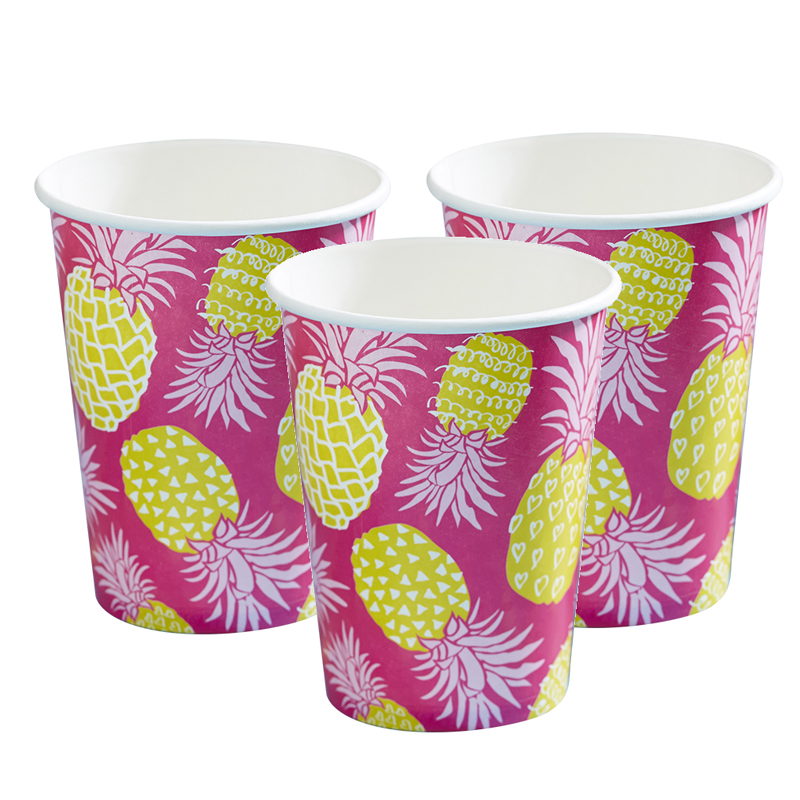 8 Pineapple Hot Pink Paper Cups