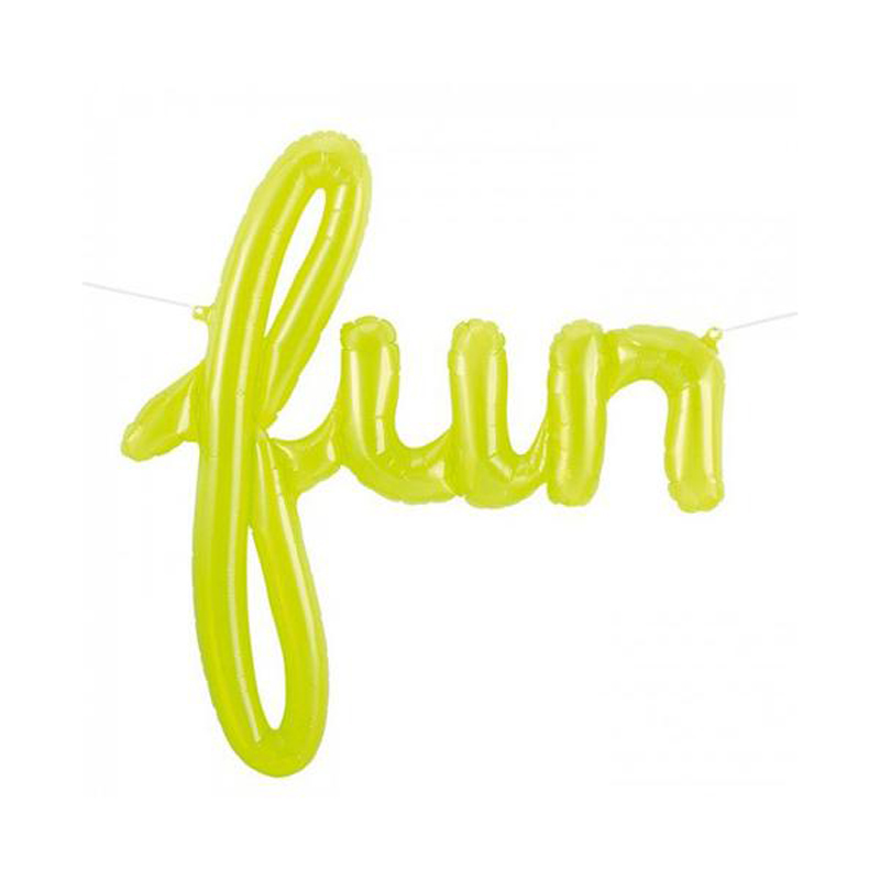 Fun lime green script foil balloon